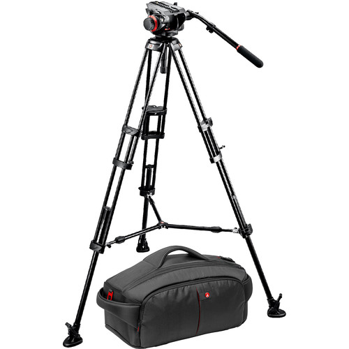 Manfrotto 546BK Tripod and 504HD Head Bundle with 195 Camcorder Case