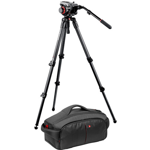 Manfrotto 535K Tripod / 504 Head Bundle with 195 Camcorder Case
