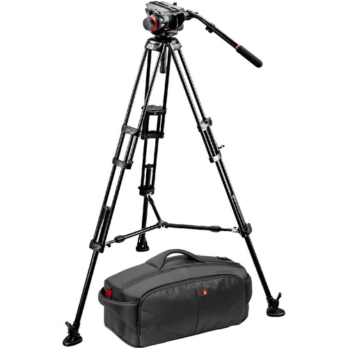 Manfrotto 546BK Tripod and 504HD Head Bundle with 197 Camcorder Case