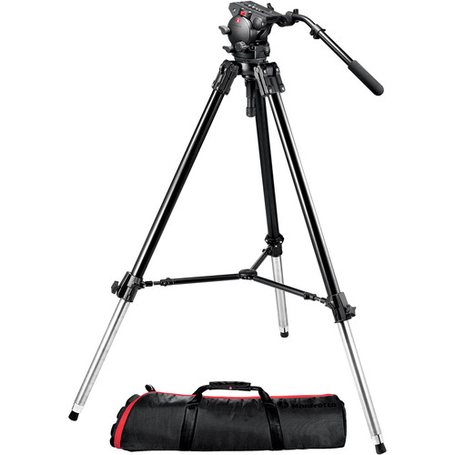 Manfrotto 526-1 Fluid Video Head with 528XBK Tripod & Carrying Bag