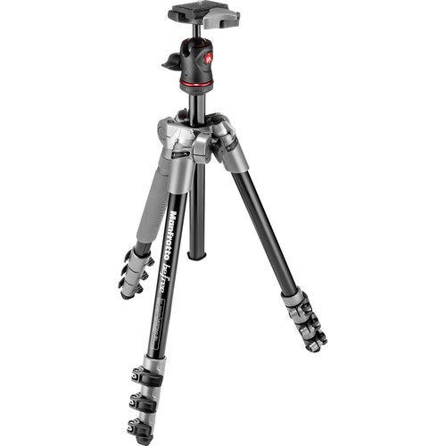 Manfrotto BeFree Compact Aluminum Travel Tripod (Gray) and Advanced Travel Backpack (Gray) Kit