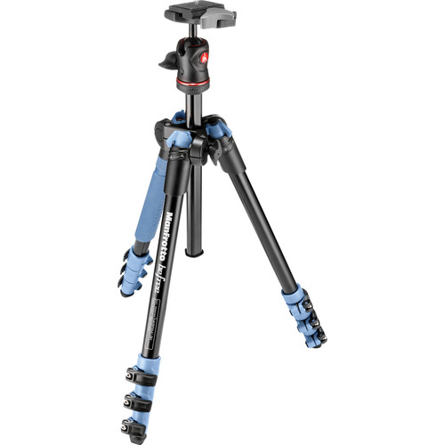 Manfrotto BeFree Compact Aluminum Travel Tripod (Blue) and Advanced Travel Backpack (Blue) Kit