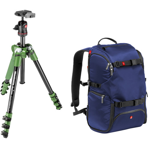 Manfrotto BeFree Compact Aluminum Travel Tripod (Green) and Advanced Travel Backpack (Blue) Kit