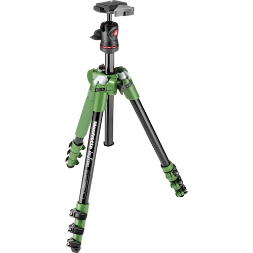 Manfrotto BeFree Compact Travel Aluminum Alloy Tripod (Green) with Large Active Messenger Bag (Gray)