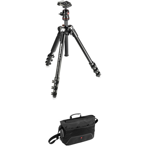 Manfrotto BeFree Compact Travel Aluminum Alloy Tripod (Black) with Large Active Messenger Bag (Black)