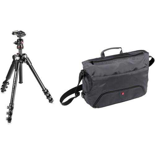Manfrotto BeFree Compact Travel Aluminum Alloy Tripod (Black) with Large Active Messenger Bag (Gray)