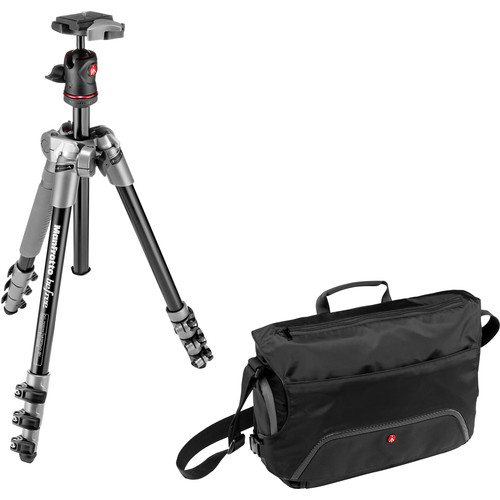 Manfrotto BeFree Compact Travel Aluminum Alloy Tripod (Gray) with Large Active Messenger Bag (Black)