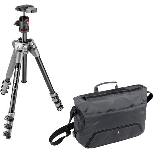 Manfrotto BeFree Compact Travel Aluminum Alloy Tripod (Gray) with Large Active Messenger Bag (Gray)