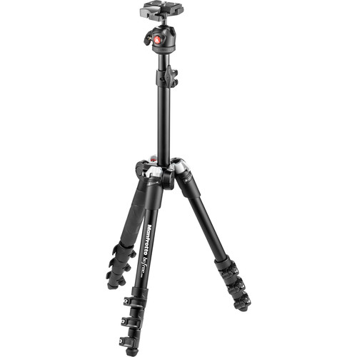 Manfrotto BeFree One Aluminum Tripod (Black) with Large Active Messenger Bag (Gray)