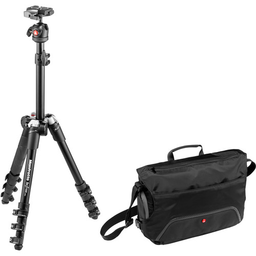 Manfrotto BeFree One Aluminum Tripod (Black) with Large Active Messenger Bag (Black)