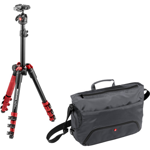 Manfrotto BeFree One Aluminum Tripod (Red) with Large Active Messenger Bag (Gray)