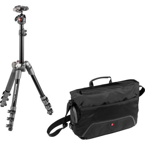 Manfrotto BeFree One Aluminum Tripod (Gray) with Large Active Messenger Bag (Black)