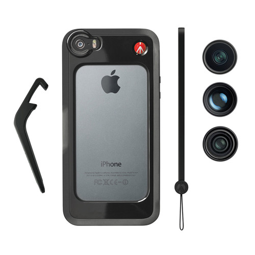 Manfrotto KLYP+ Case for iPhone 5/5s with Fisheye, Portrait 1.5x, and Wide Angle Lenses (Black)
