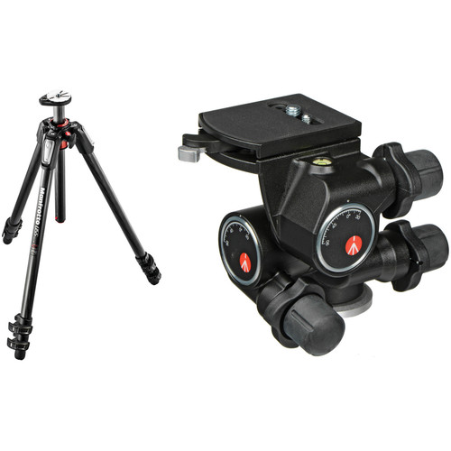 Manfrotto MT055CXPRO3 Carbon Fiber Tripod with 410 Junior Geared Head Kit
