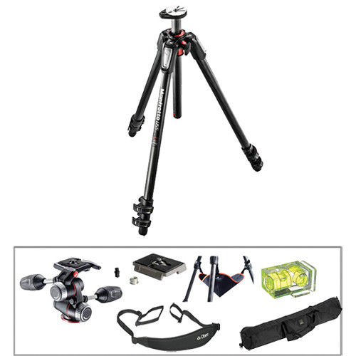 Manfrotto MT055CXPRO3 Carbon Fiber Tripod with MHXPRO-3W 3-Way Pan/Tilt Head Deluxe Kit