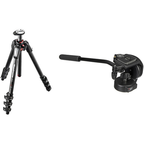 Manfrotto MT055CXPRO4 Carbon Fiber Tripod with 128RC Micro Fluid Video Head Kit