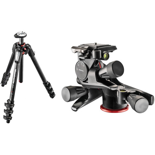 Manfrotto MT055CXPRO4 Carbon Fiber Tripod with XPRO Geared 3-Way Pan/Tilt Head Kit