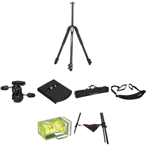 Manfrotto MT055XPRO3 Aluminum Tripod with 808RC4 3-Way Pan/Tilt Head Deluxe Kit