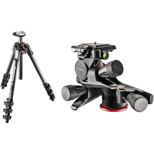 Manfrotto MT190CXPRO4 Carbon Fiber Tripod with XPRO Geared 3-Way Pan/Tilt Head Kit