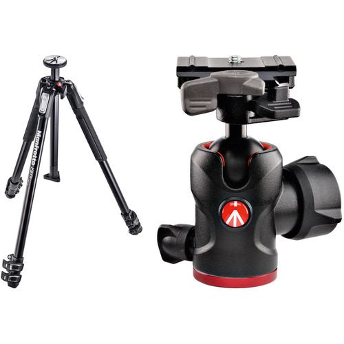 Manfrotto MT190X3 Aluminum Tripod and 494 Ball Head with 200PL-PRO Quick Release Plate Kit