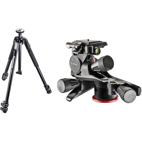 Manfrotto MT190X3 Aluminum Tripod with XPRO Geared 3-Way Pan/Tilt Head Kit