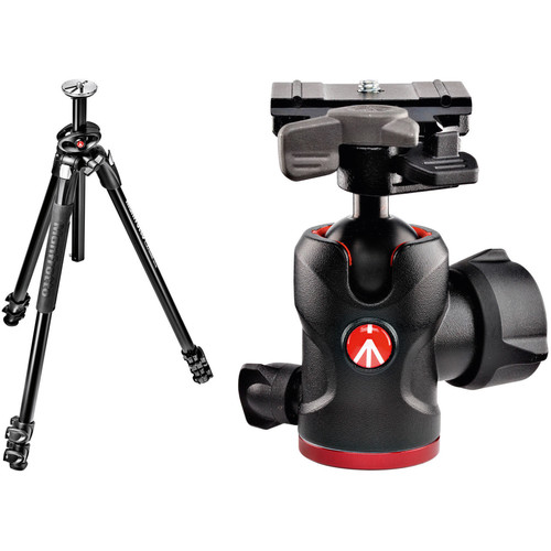 Manfrotto MT290DUA3US 290 Dual Aluminum Tripod with 494 Mini Ball Head Kit