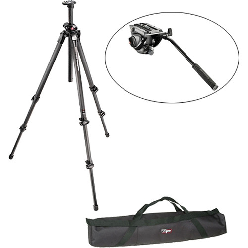 Manfrotto MVH500AH Flat Base Fluid Head, 055CXPRO3 CF Legs, Padded Case Kit