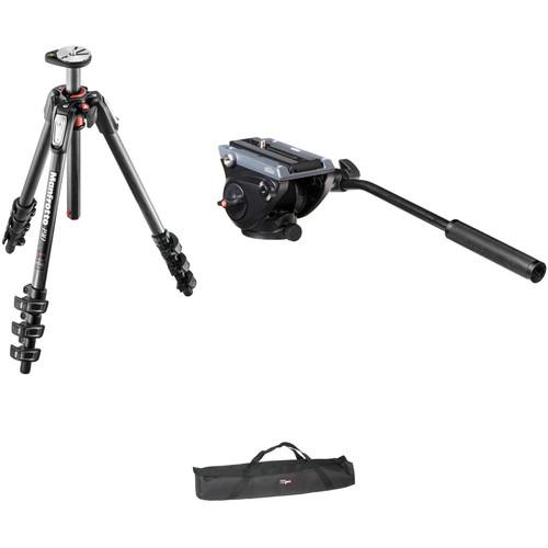 Manfrotto MVH500AH Flat Base Fluid Head, MT190CXPRO4 Tripod Legs,Padded Case Kit