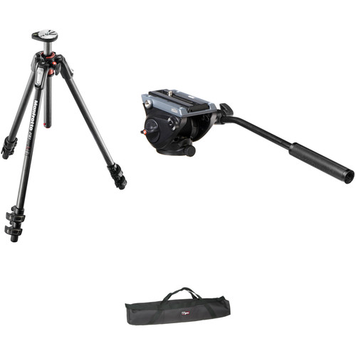 Manfrotto MVH500AH Flat Base Fluid Head/MT190CXPRO3 Tripod Legs/Padded Case Kit