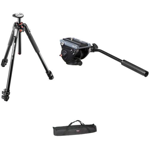 Manfrotto MVH500AH Flat Base Fluid Head, MT190XPRO3 Tripod Legs, Padded Case Kit