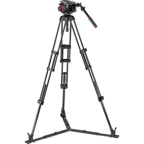 Manfrotto 504HD Head & Carbon Fiber Twin Leg Video Tripod Kit (100/75mm, Ground Spreader)