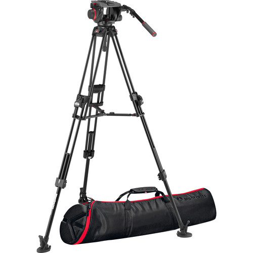 Manfrotto 509HD Tripod System with Aluminum 645 Twin FAST Legs, 2-in-1 Spreader & Carry Bag