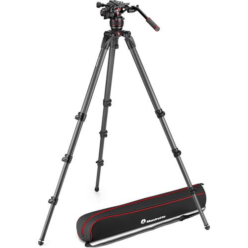 Manfrotto 608 Nitrotech Fluid Video Head and 536 Carbon Fiber Single Legs Tripod
