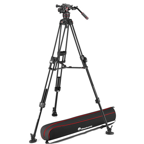 Manfrotto 608 Nitrotech Fluid Head with Fast Twin Aluminum Tripod System and Bag