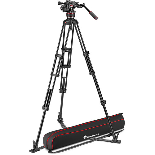 Manfrotto 608 Nitrotech Fluid Video Head and Aluminum Twin Leg Tripod with Ground Spreader