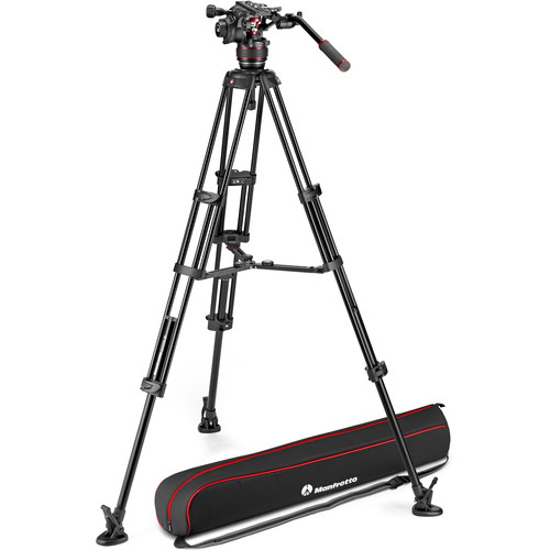 Manfrotto 608 Nitrotech Fluid Video Head and Aluminum Twin Leg Tripod with Middle Spreader