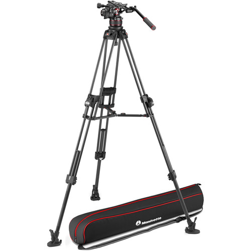 Manfrotto 612 Nitrotech Fluid Head with Fast Twin Carbon Fiber Tripod System and Bag