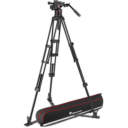 Manfrotto 612 Nitrotech Fluid Video Head and Aluminum Twin Leg Tripod with Ground Spreader