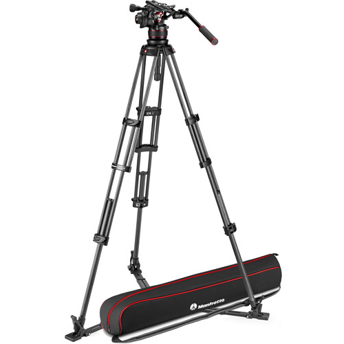 Manfrotto 612 Nitrotech Fluid Video Head and Carbon Fiber Twin Leg Tripod with Ground Spreader