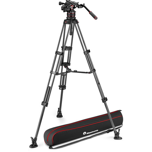 Manfrotto 612 Nitrotech Fluid Video Head and Carbon Fiber Twin Leg Tripod with Middle Spreader