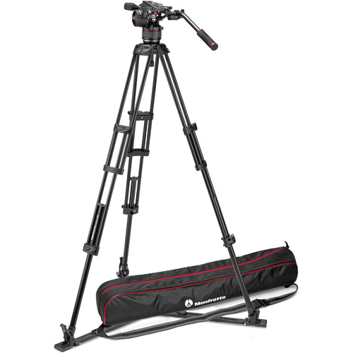 Manfrotto Nitrotech N8 Video Head & 546GB Pro Tripod with Ground-Level Spreader