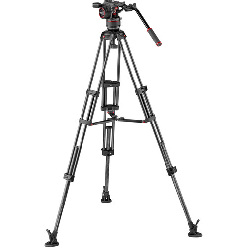 Manfrotto Nitrotech N8 Head & Carbon Fiber Twin Leg Video Tripod Kit (100/75mm, Mid-Level Spreader)
