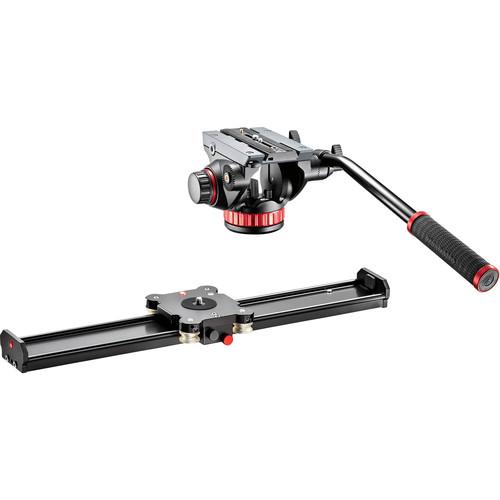 """Manfrotto 502AH Video Head & 24"""" Camera Slider Kit"""