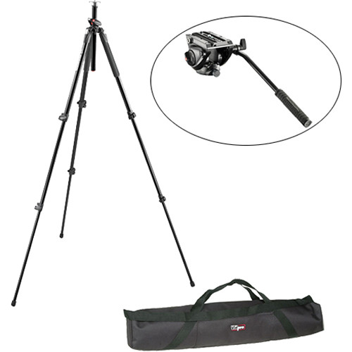 Manfrotto MVH500AH Flat Base Fluid Head, MT190A3P Tripod Legs, Padded Case Kit