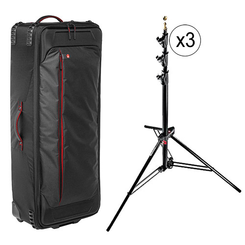 Manfrotto Pro Light Rolling Camera Organizer and Alu Master 3-Pack Stand Kit