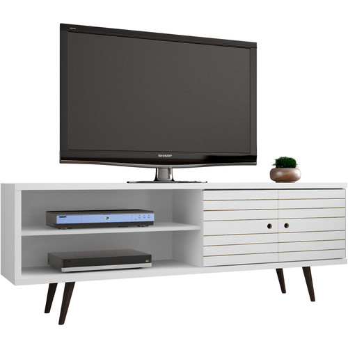"""Manhattan Comfort Liberty 62.99"""" Mid Century Modern TV Stand With 3 Shelves, 2 Doors and Solid Wood Legs"""