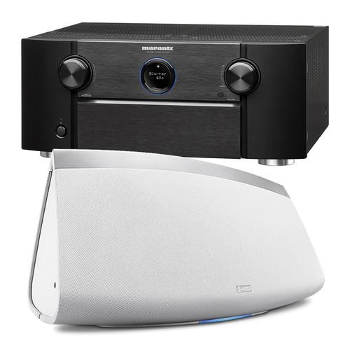 Marantz AV7703 11.2-Channel Network A/V Preamplifier with HEOS 7 Series 2 Wireless Speaker Kit (White)