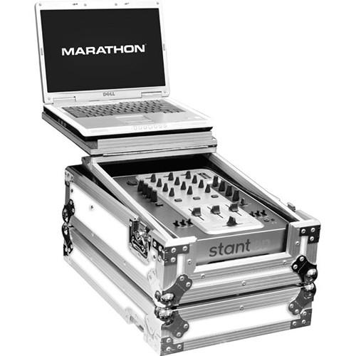 "Marathon White Series Flight Road Case with Laptop Shelf for 10"" Mixer"