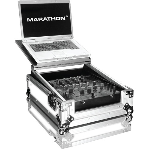 "Marathon White Series Flight Road Case with Laptop Shelf for 12"" Mixer"