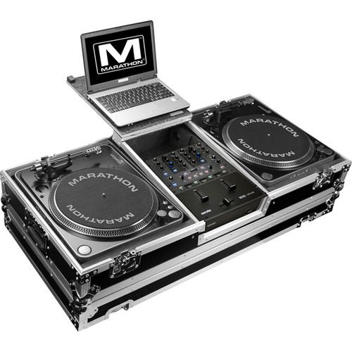 Marathon Battle-Style Coffin for Rane Sixty-One Mixer & 2 Turntables with Laptop Shelf & Wheels